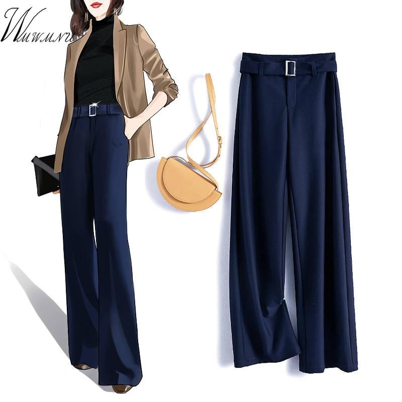 Black/navy With Belted Long Pants Female Loose Elegant OL Work Trousers Women High Waist Wide Leg Pants