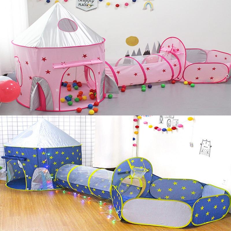 Портативная детская палатка 3 в 1, космический корабль, Tipi, сухое бассейн, ракета, корабль, палатка в виде вигвама для детей, мяч, бассейн, коро...