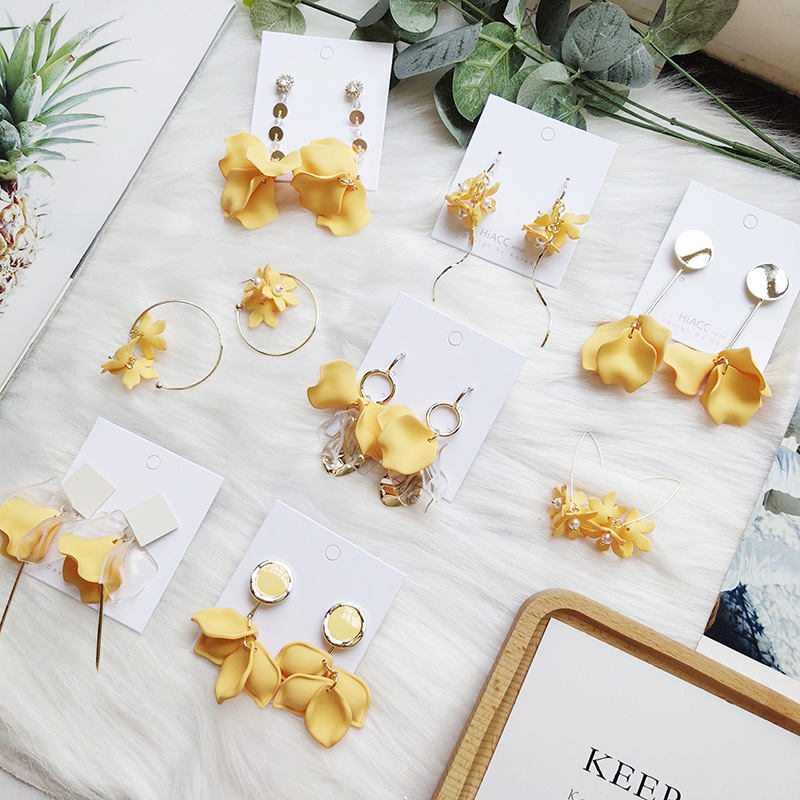Korean Handmade Anti-allergy Yellow Plumeria Chips 2019 Woman Hanging Dangle Drop Earrings Fashion Jewelry Holiday-JQD5