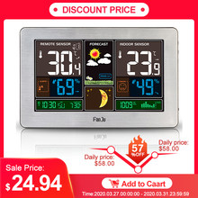 FJ3378 Jam Alarm Digital Weather Station Dinding Indoor Outdoor Suhu Kelembaban Menonton Moon Phase Cuaca USB Charger(China)