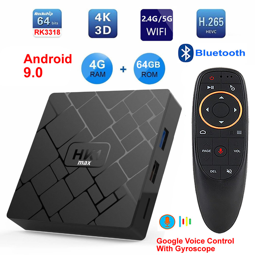 HK1 MAX Android 9.0 Smart TV BOX RK3318 Quad Core 4GB Ram 64G Rom 2.4G/5G Dual WIFI Bluetooth 3D 4K HDR H.265 USB3.0 Set Top Box