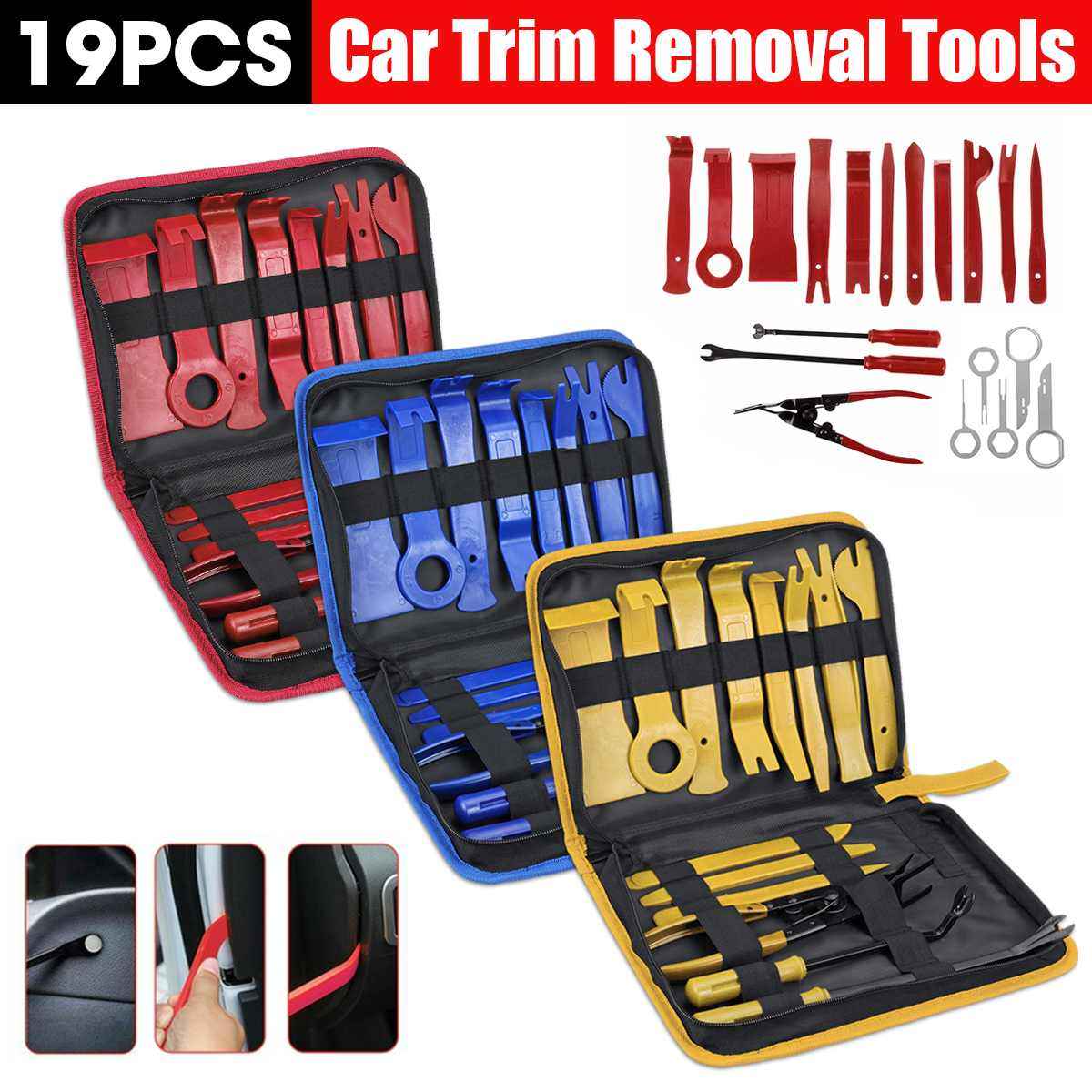 19pcs Car Disassembly Tools DVD Stereo Refit Kit Interior Trim Panel Dashboard Installation Removal Repair Tools Red/Blue/Yellow