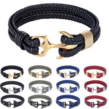 CCD High Quality Men's Bracelet Personality Smooth Leather Women Black Anchor Sport Hook Rope Stainless Steel Bracelet & Bangle(China)