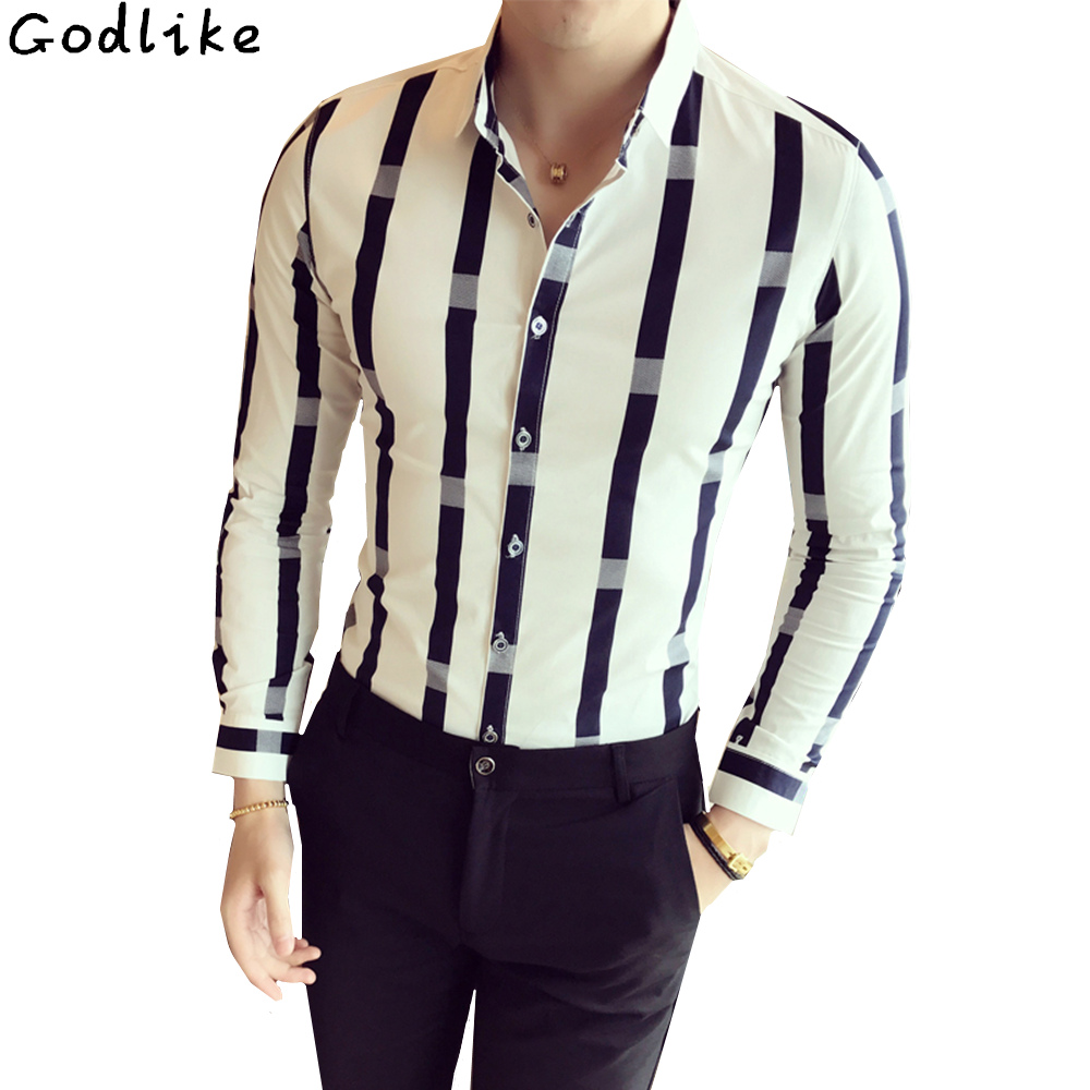 Autumn Wide Stripe Shirt Men Fashion 2019 Long Sleeve British Style Slim Fit Male Casual Social Hot Sale Night Club Work Shirt