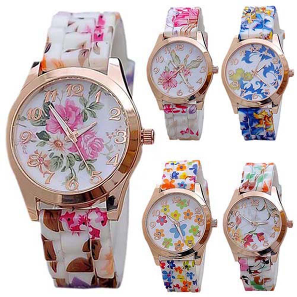 Women Flower Print Silicon Band Arabic Numerals Dial Quartz Wrist Watch