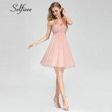 New Sweet Short Pink Summer Dresses A-Line One Shoulder Above Knee Women Elegant Sparkle Vestidos De Verano 2019