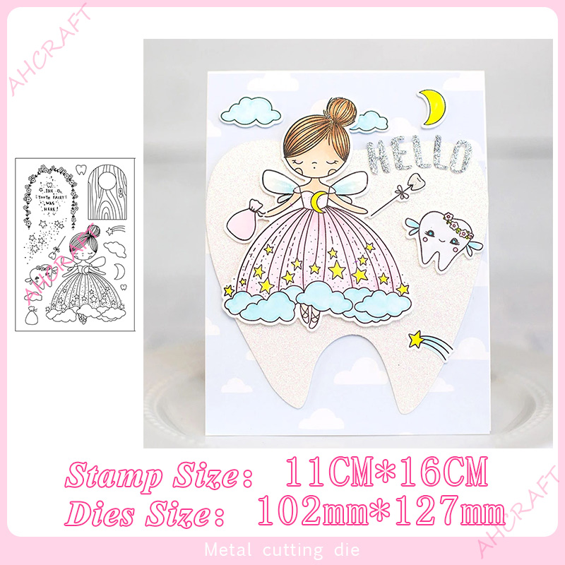 Tooth Fairy Set Stamp And Metal Cutting Dies DIY Scrapbooking For Photo Album Decorative Embossing Silicone Clear Stamps 2020