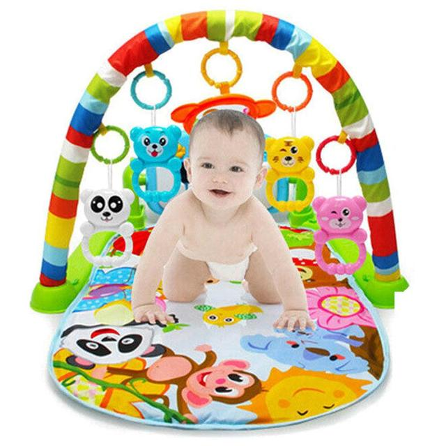 4 in 1 Educational Baby Gyms and Play Mat with Piano Keyboard and Mat