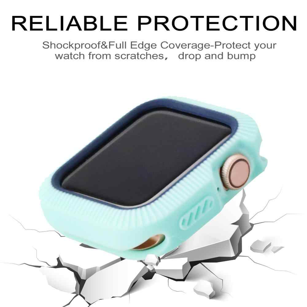 Candy Tpu Case Voor Apple Watch Serie 5 4 Kleurrijke Cover Screen Protector Voor Iwatch 40 44 Mm Fit Ultra-dunne Frame Band