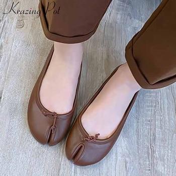 Krazing pot Internet star popular genuine leather flat with shoes fashion split toe grandmother shoes slip on women shoes L03
