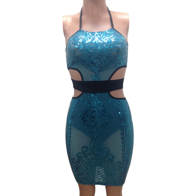 Halter Sequined Hollow Out Sleeveless Backless Dress 4