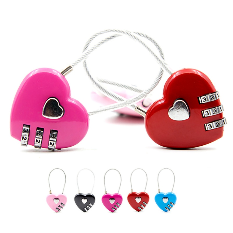 3 Dial Digit Password Lock Heart-Shaped Padlock Combination Luggage Password Padlock Travel Protect Bag Backpack Anti-Theft Lock