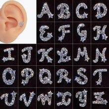 1pc aço cirúrgico orelha tragus cartilagem inglês letra do alfabeto zircão parafuso prisioneiro da orelha cartilagem hélice brincos moda jóias