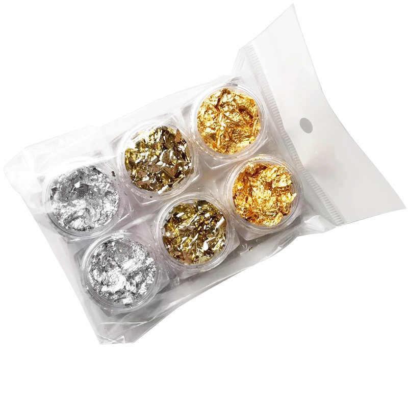 Rikonka adesivo de manicure, folha colorida dourada, prata e vermelha para unhas arte em unhas, irregular, de alumínio e glitter