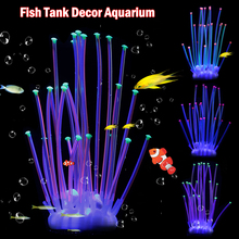 Aquarium Silicone Artificial Coral Ornament Effect Plant  Decor Fish Tank Underwater Landscape Luminous Accessory D40