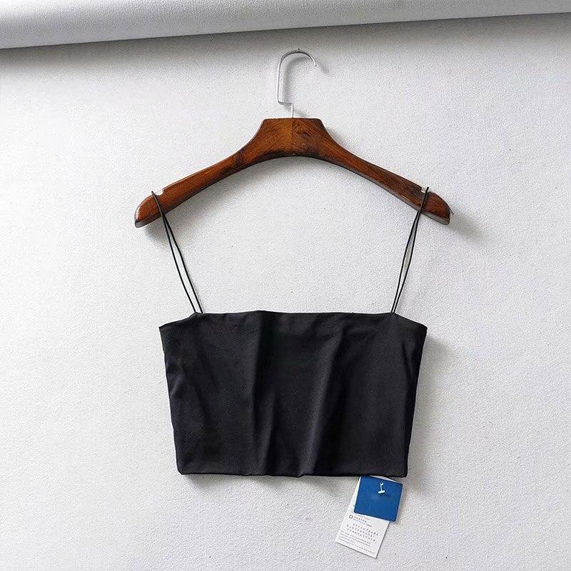 2020 Summer Women's Crop Top Sexy Elastic Cotton Camis sleeveless Short Tank Top Bar 2