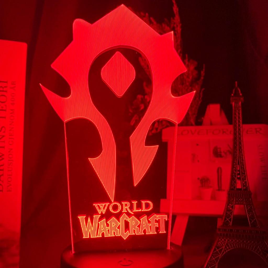 Hb28ecb7ad3594fdfaa733f43fe201fc8J Luminária World of warcraft Luz da noite 3d jogo horda bandeira cor mudando nightlight para crianças criança cama quarto decoração sensor de toque lâmpada led wow presente