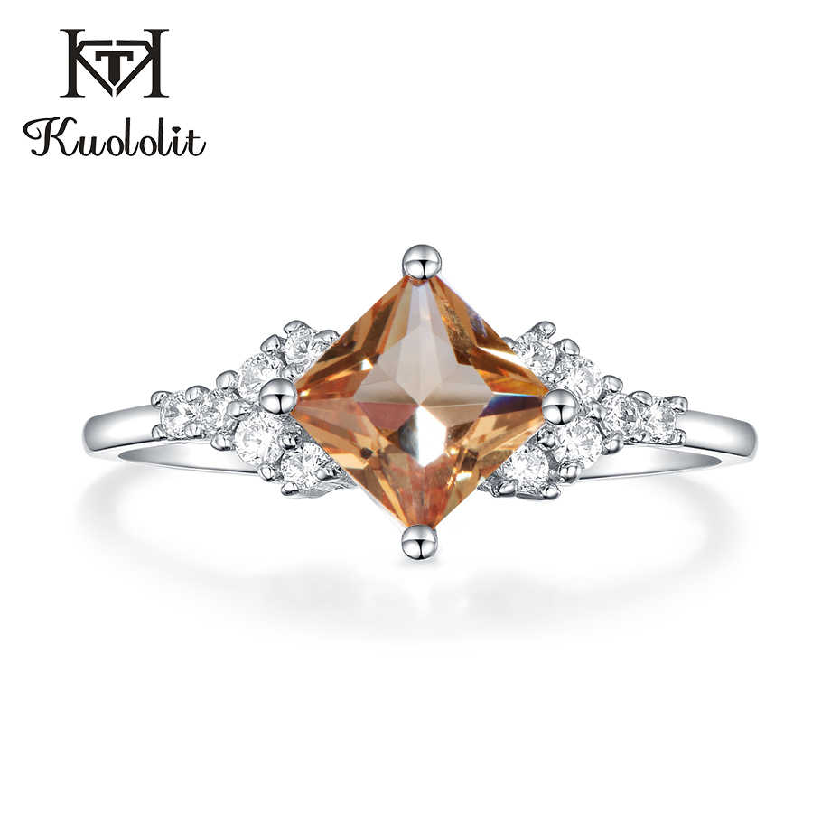 Kuololit Zultanite Gemstone Ring for Women Solid 925 Sterling Silver Created Color Change Square Diaspore Stones Fine Jewelry