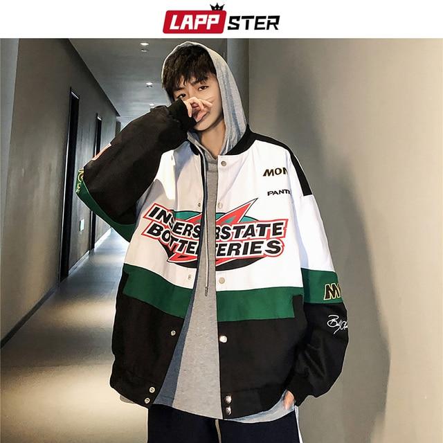 LAPPSTER Men Patchwork Streetwear Bomber Jackets 2020 Autumn Mens Korean Fashions Windbreaker Harajuku Hip Hop Jackets Coats
