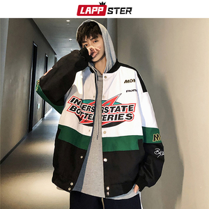 Image 1 - LAPPSTER erkekler Patchwork Streetwear bombacı ceketler 2020 sonbahar erkek kore modası rüzgarlık Harajuku Hip Hop ceketler mont