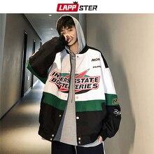 Куртка бомбер LAPPSTER Мужская составного кроя, уличная одежда, модная ветровка в Корейском стиле, куртка бомбер в стиле Харадзюку, хип хоп, осень 2020