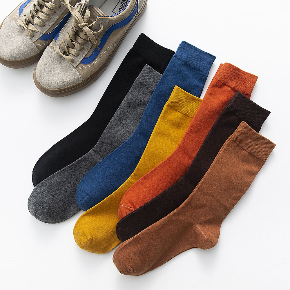 New Men's Solid Color Business Tube Socks Cotton Winter Casual Week  Color Casual Increase Long Cotton Deodorant Socks