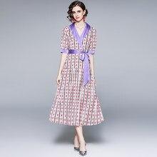 Zuoman mulheres verão elegante vestido de impressão festa festa do escritório feminino alta qualidade robe femme designer vintage entalhado vestidos