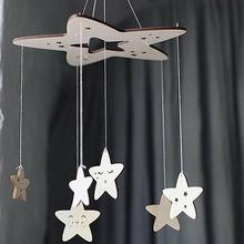 Lovely Wooden Star Hanging Decoration Home Room Ceiling Crib Wall Ornament Gift creative pretty ornament Bedroom decor
