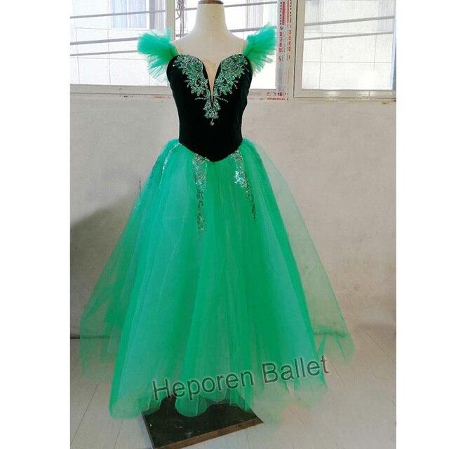 Szmaragdowa dziecięca lub dorosła profesjonalna sukienka na występy baletowe, czarodziejka z Oz zielona długa spódnica baletowa wykonana na zamówienie