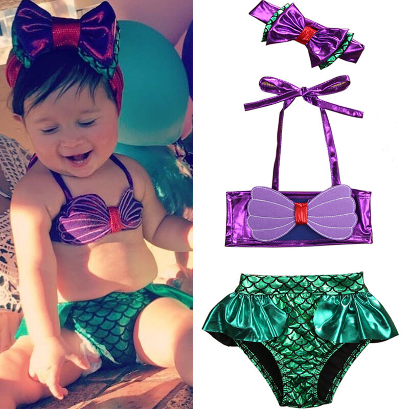 Toddler Baby Girls Kids Mermaid Bikini Set Summer Beach Swimwear Swimsuit Bathing Suit Bikini  Costume