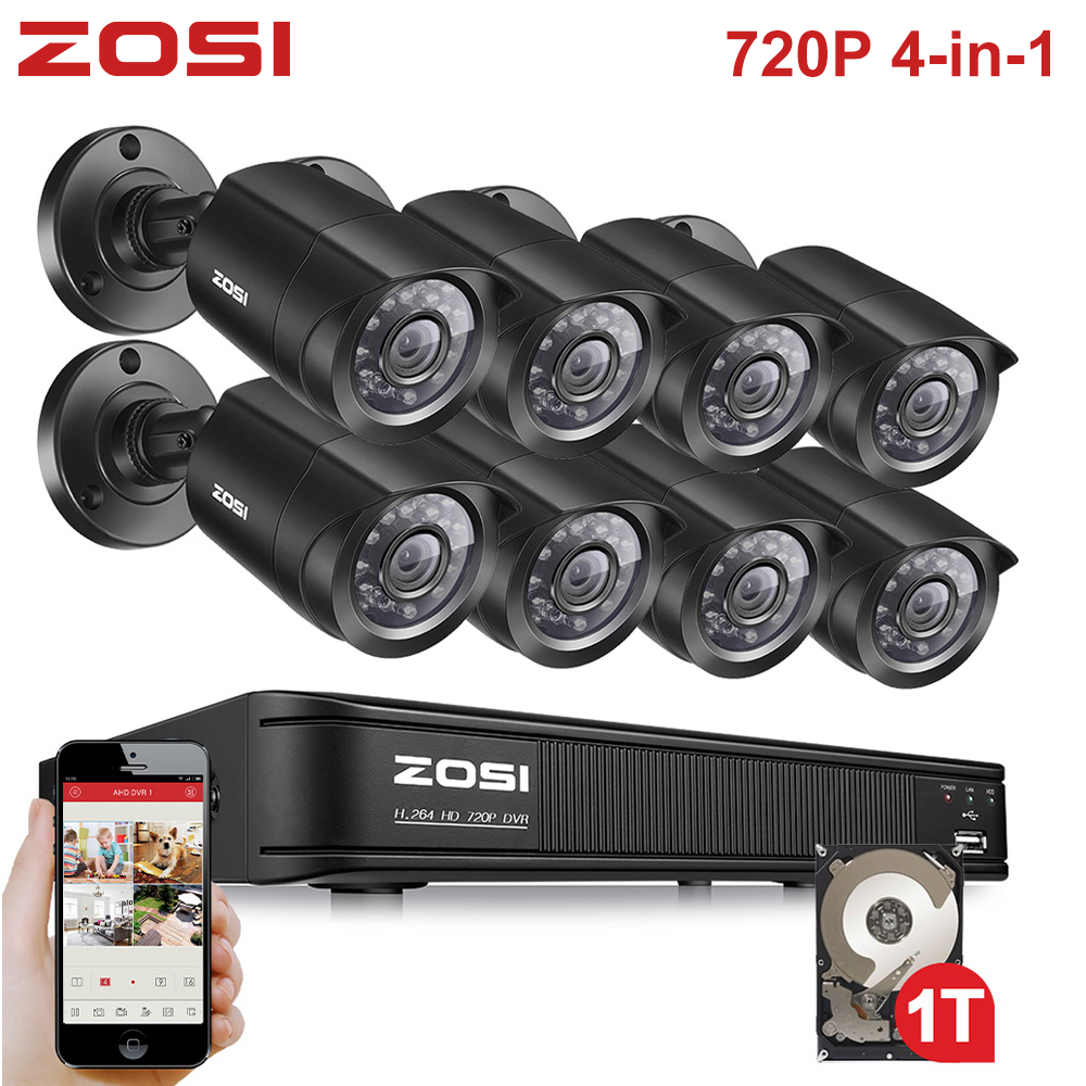 ZOSI 8CH 720P 4-in-1 CVBS AHD CVI TVI Video Security System CCTV DVR 1TB Outdoor Weatherproof Surveillance Security Camera