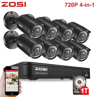 ZOSI 8CH 720P 4 in 1 CVBS AHD CVI TVI Video Security System CCTV DVR 1TB Outdoor Weatherproof Surveillance Security Camera