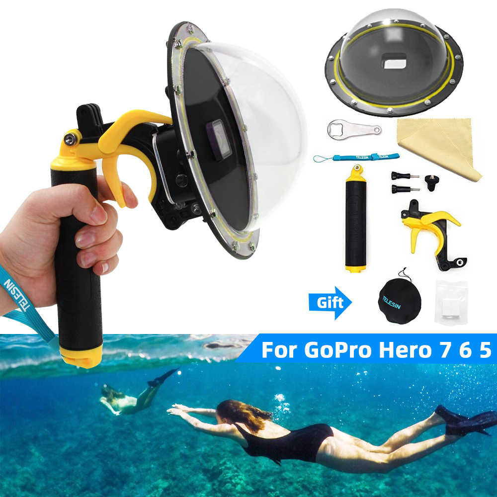 "Go Pro 6"" Dome Port Waterproof Case Housing For Gopro Hero 7/6/5 Black 4/3 Trigger Grip Dome Cover Lens Shooting Accessories"