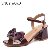 E TOY WORD High Heels Bow Sandals Women Summer Ankle Buckle Thick Heel Classics Open Toe Shoes women zapatos mujer