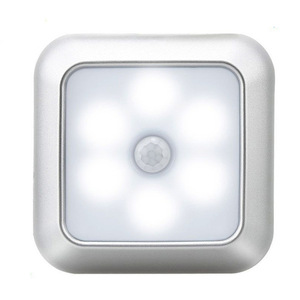 2020 Battery Powered 6 LED Square Motion Sensor Night Lights PIR Induction Under Cabinet Light Closet Lamp for Stairs Kitchen