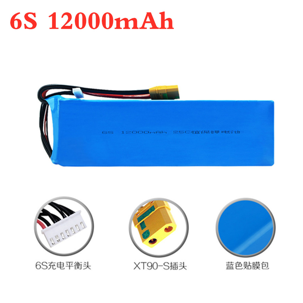6s Lithium Battery 22.2V <font><b>12000mAh</b></font> 25C 6S for Agricultural Spraying Drone Spare Parts 22.2v RC <font><b>lipo</b></font> Battery Pack XT90s 1PCS image