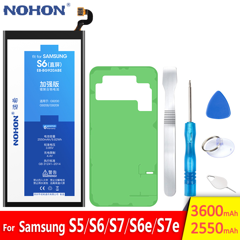 NOHON Battery For Samsung Galaxy S5 S6 S7 S6 Edge S7 Edge G900S <font><b>SM</b></font>-G9200 <font><b>SM</b></font>-G9280 <font><b>SM</b></font>-G9300 <font><b>SM</b></font>-<font><b>G9350</b></font> Batarya Replacement Bateria image