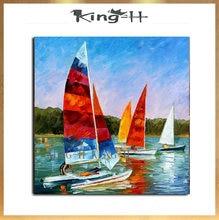 Pintura al óleo de barco pintado a mano moderno cielo océano pintura al óleo hogar pared arte lienzo imagen mejor regalo para la