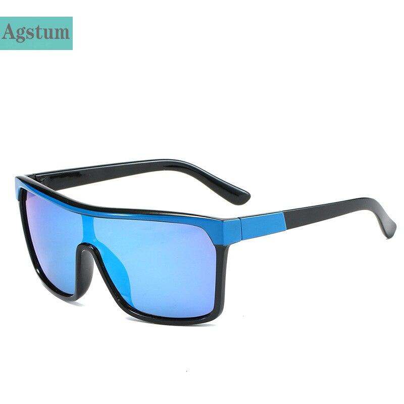 US $8.39 45% OFF Agstum Flat Top Sunglasses Men Women Brand Designer Oversized Square Fashion One Piece Lens Sun Glasses for Women Shades Male Women's