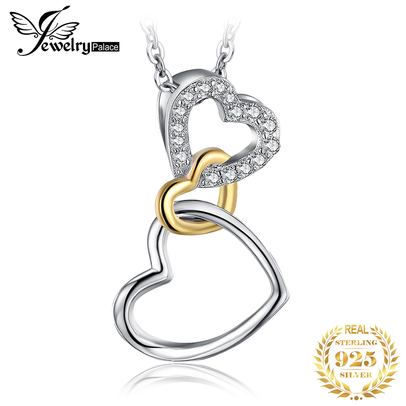 JPalace Heart 925 Silver Pendant Necklace 925 Sterling Silver Choker Statement Necklace Women Silver 925 Jewelry Without Chain