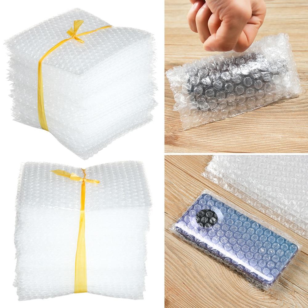 50 pçs plástico de proteção envoltório envelope bolha branca sacos de embalagem de espuma pe claro saco de bolhas à prova de choque saco de filme duplo amortecimento