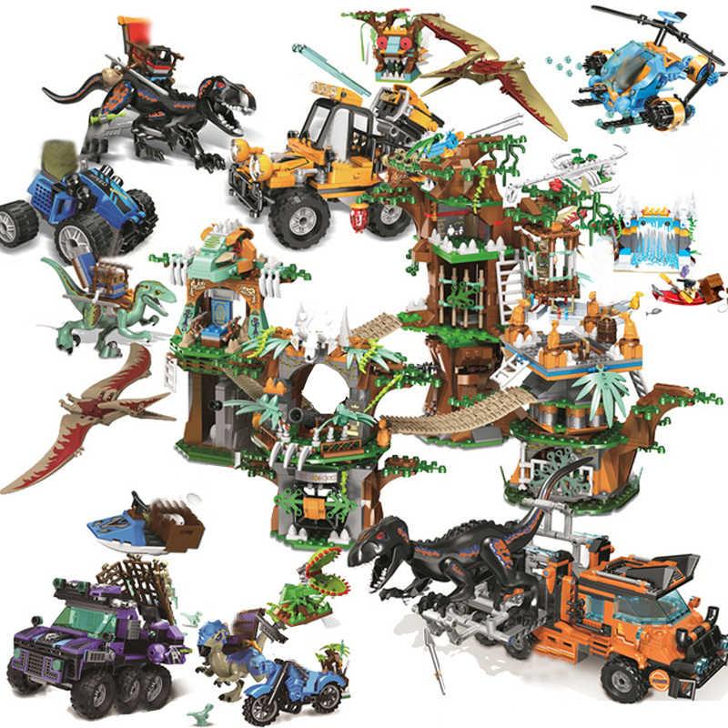 Юрский Мир динозавров Парк 2 динозавров Raptor Защитная зона набор Legoes строительные блоки Детские игрушки Подарки juguetes