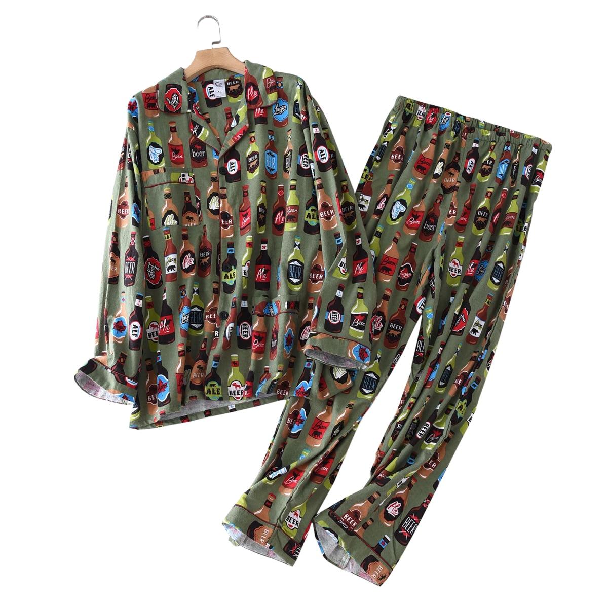 New Spring Fashion Printing 100% Cotton Pajamas Sets Mens Sleepwear Casual Male Home Clothing Pyjamas Men Homewear Plus Size