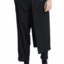 2020 New Double men's trouser skirt pants and nine-point tapered bobbin trousers, deconstructed vertical cut yohji spring pants.