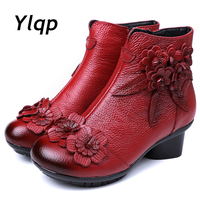 2019 New Arrival Vintage Boots Genuine Leather Ankle Boots New Winter Women Warm Shoes Soft Non Slip Bottom Soles Plus Size