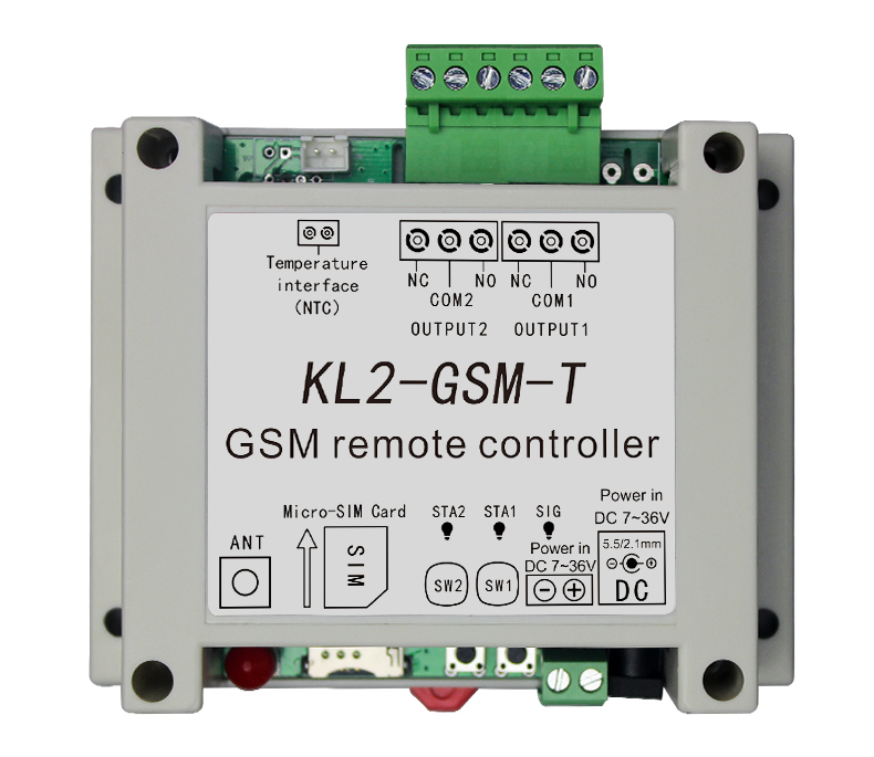 GSM Remote Controller Switch Access Controller With 2 Relay Output One Temperature Sensor Adaptor Optional