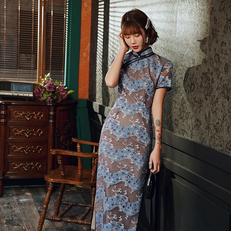 Sheng Coco Female New Style  Lace Long Chinese Cheongsam Dress Small Fragrance Blue Brown Stripe Hollow Qipao Vestidos