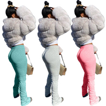 2020 stacked leggings joggers stacked pants women jogging femme split flare ruch