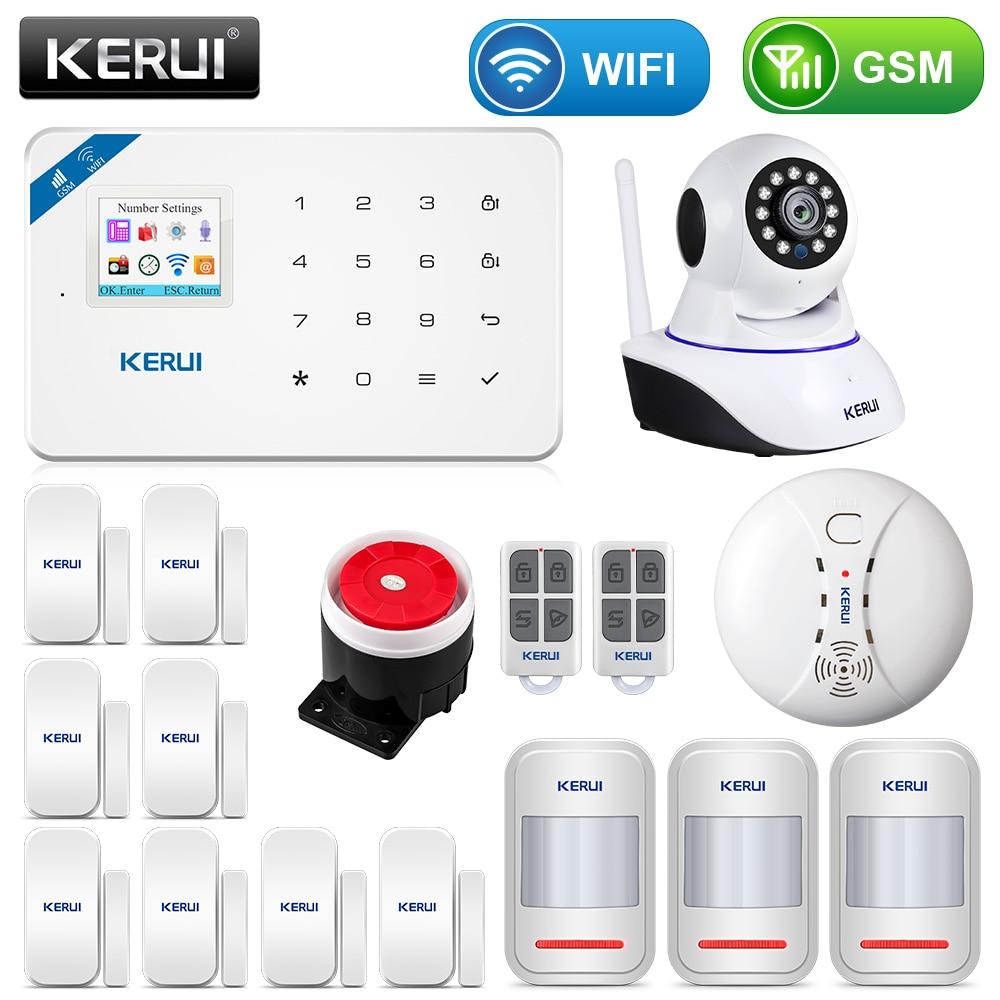 KERUI W18, pantalla TFT de 1,7 pulgadas, WIFI GSM, sistema de alarma de seguridad antirrobo para el hogar, Detector de movimiento, Control de aplicaciones, alarma detectora de humo de fuego