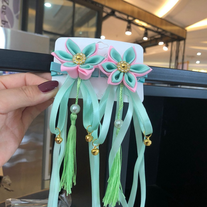 2 шт/лот заколки для волос с лентами и цветами кисточками девочек